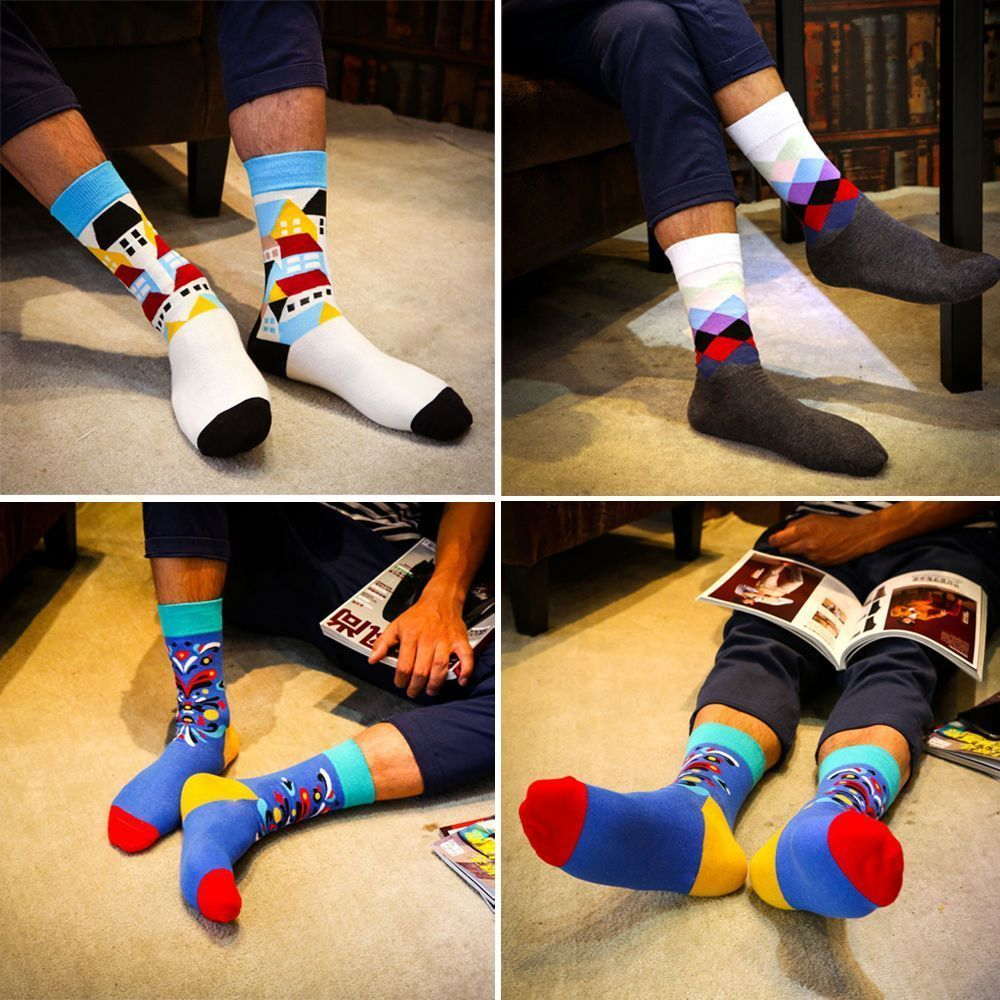 49a213f5e5dcb 2.41AUD - Soft Autumn Spring Striped Dot Winter Warm Art Jacquard Men Long  Cotton Socks #ebay #Fashion
