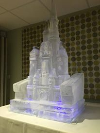 Disney Ice castle with an ice luge just after set up so still a bit frosty.