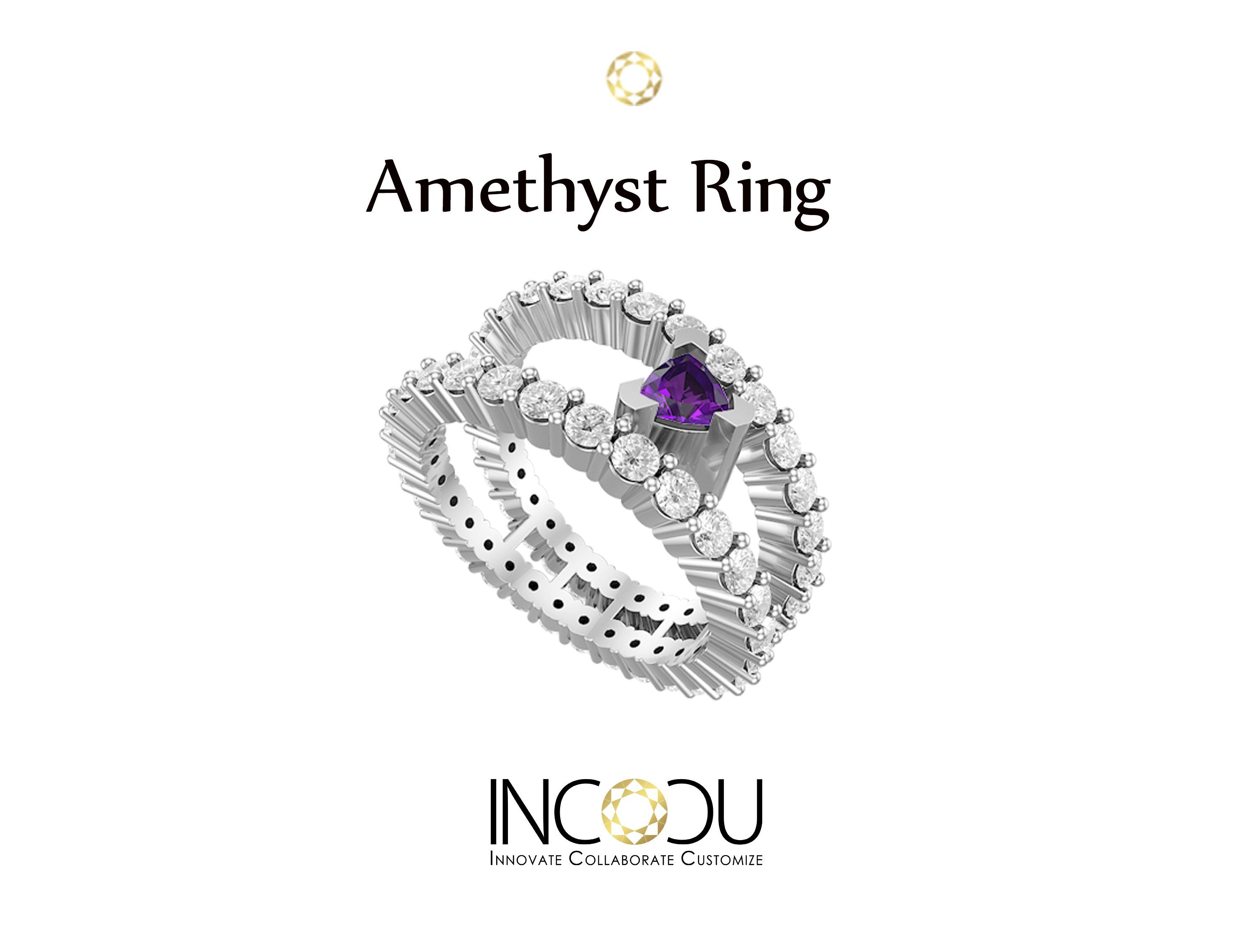 The perfect blend of exclusivity and royalty.  #Amethyst #AmethystRing #Ring #Whitegold #Order #Diamond #Shopping #Incocu