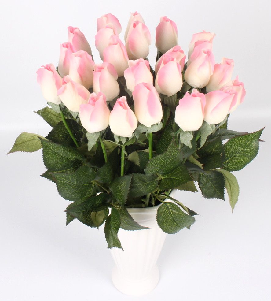 Real Touch Rose Bud 25pcs Lot Artificial Silk Wedding Flowers