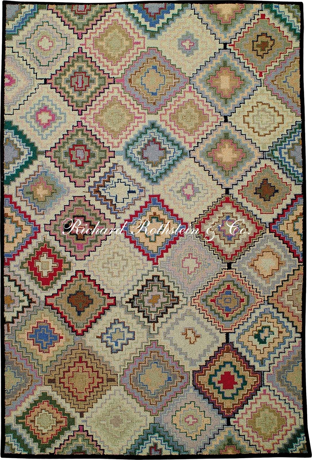 Hand hooked rug stepped diamonds so many ideas so little time