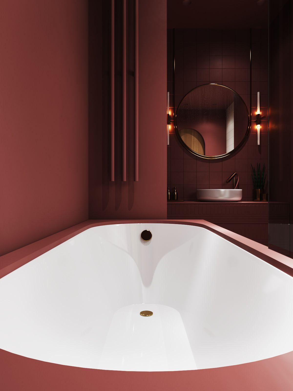 """Velvet"""" bathroom on Behance  Красные ванные комнаты, Ванная стиль"""