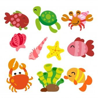 Download Coloured Animals And Insects Collection For Free Cartoon Sea Animals Sea Animals Baby Shark