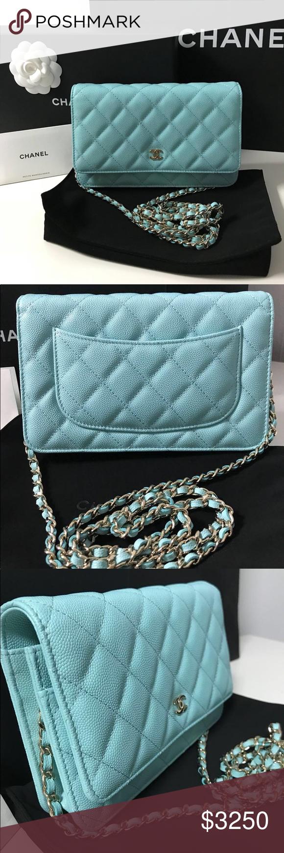 929774fd8ce3 Chanel 19C WOC Wallet On Chain Blue Caviar Leather Brand New Chanel Wallet  On Chain WOC