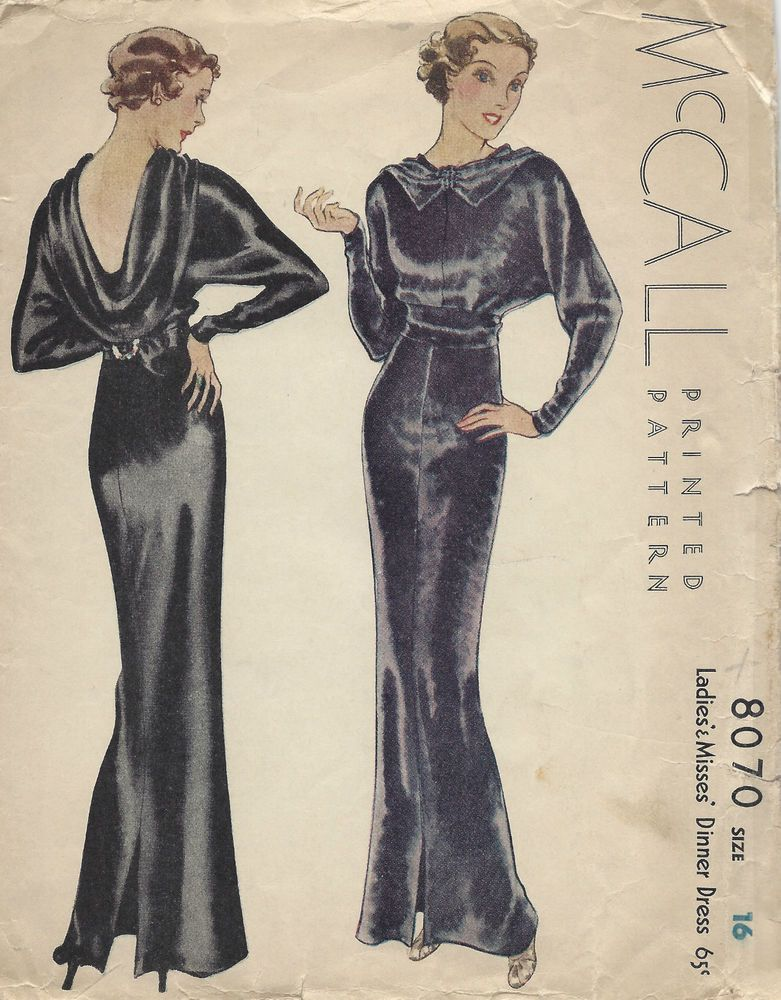 1934 Vintage Sewing Pattern B34 EVENING DINNER DRESS (1296 ...