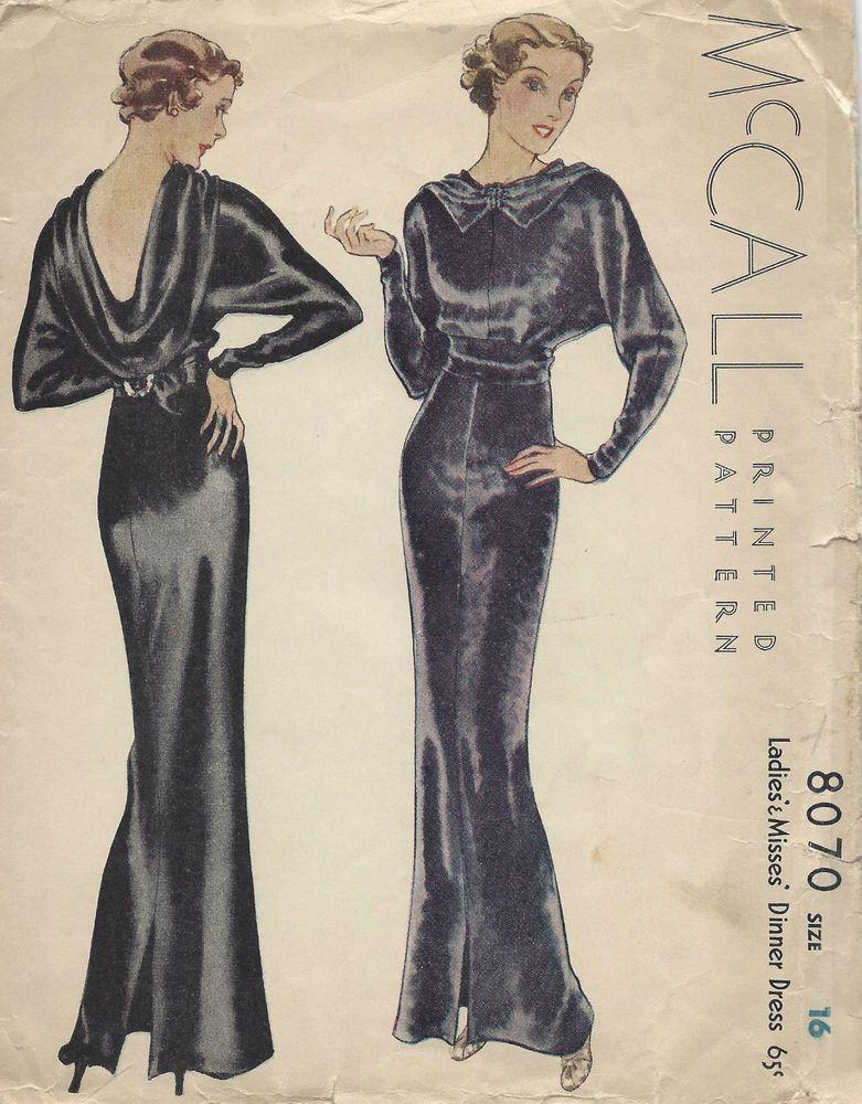 1934 Vintage Sewing Pattern B34 EVENING DINNER DRESS (1296 ...