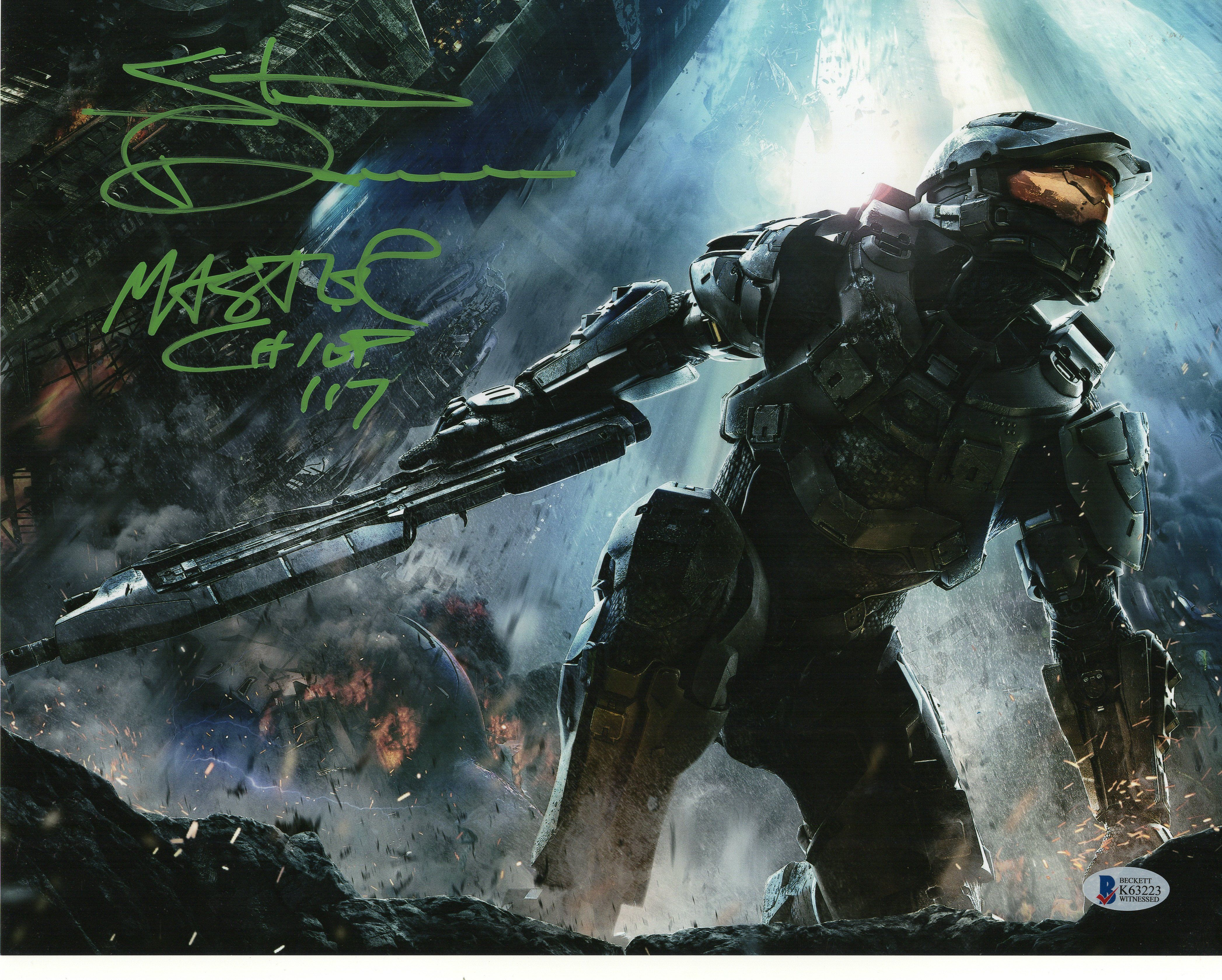 Steve Downes Signed 11x14 Photo Halo Master Chief Autograph Bas