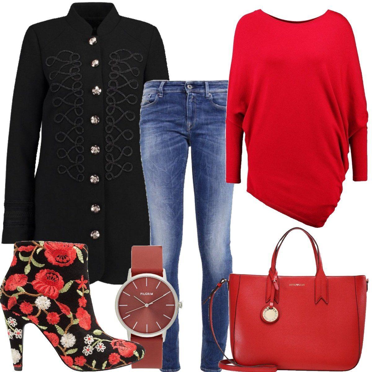e jeans con Outfit composto skinny maglione da asimmetrico fit wxgEHX