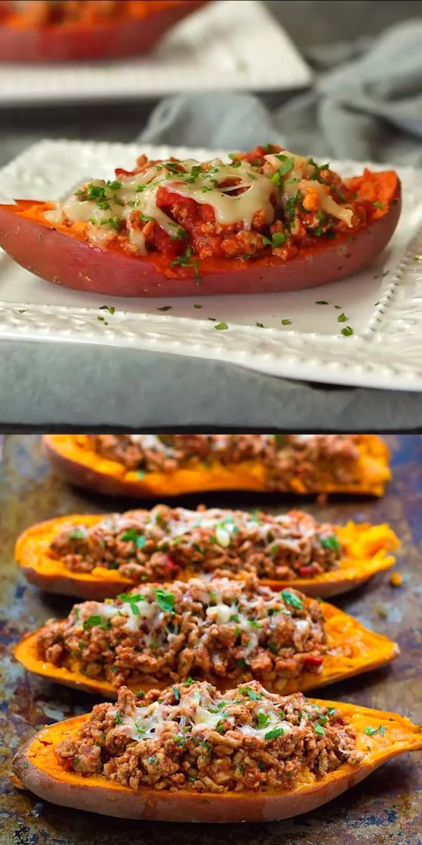 Turkey Taco Stuffed Sweet Potatoes -