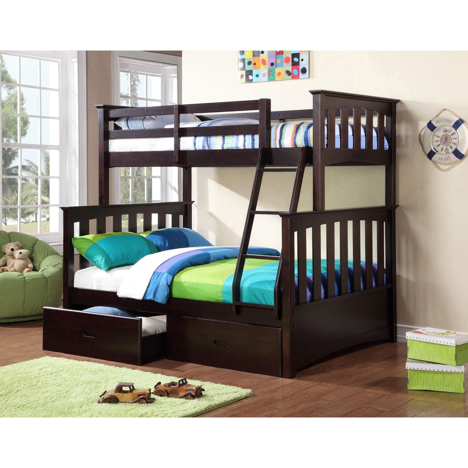 Twin over full loft bed with stairs  Newbury TwinOverFull Bunk Bed with Under the Bed Storage Drawers