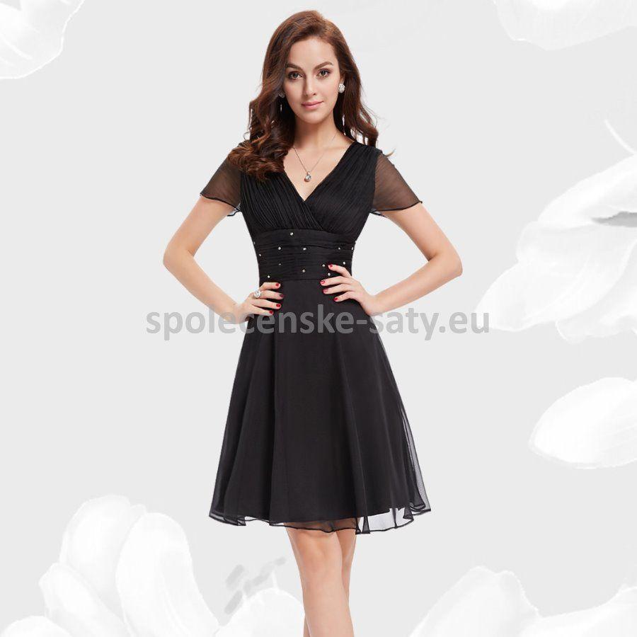 296be565d21 Černé krátké společenské šaty koktejlky s krátkým rukávem 38 M ...