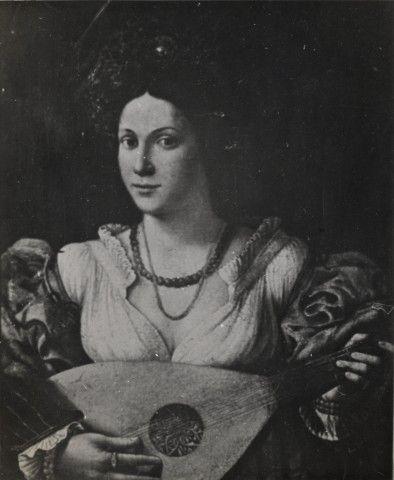 Negretti Iacopo , Ritratto di giovane donna con liuto.