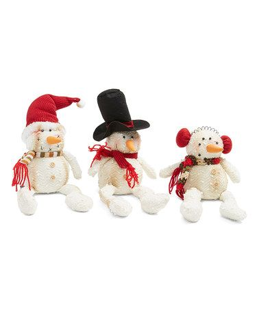Look at this #zulilyfind! Sitting Snowman Figurine - Set of Three #zulilyfinds