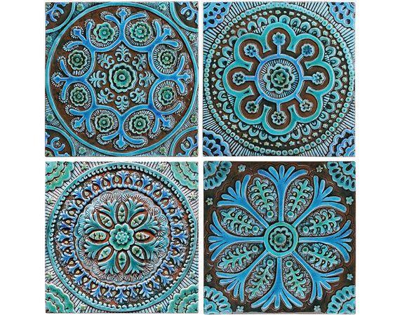 Outdoor wall art with Moroccan design, Ceramic tile garden ...