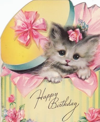 Happy Birthday Cat Wishes: Happy Birthday- Kittens In Hat Boxes- 1952 Vintage