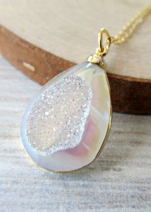neutral color tan brown druzy crystal cluster raw agate druzy pendant necklace Gold edged druzy necklace natural crystal druzy necklace