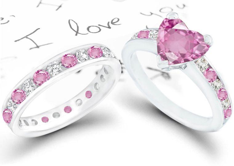 Heart Shape Pink Sapphire Wedding Ring Set: Heart Pink Sapphire Diamond  Round Wedding And Engagement Rings