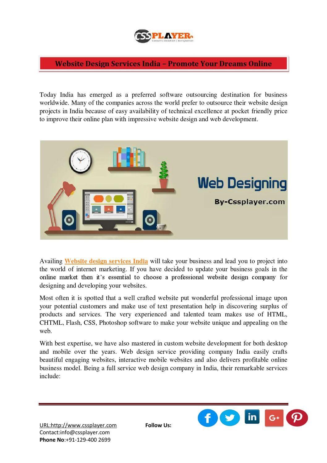 Website design services india – promote your dreams online   Pinterest