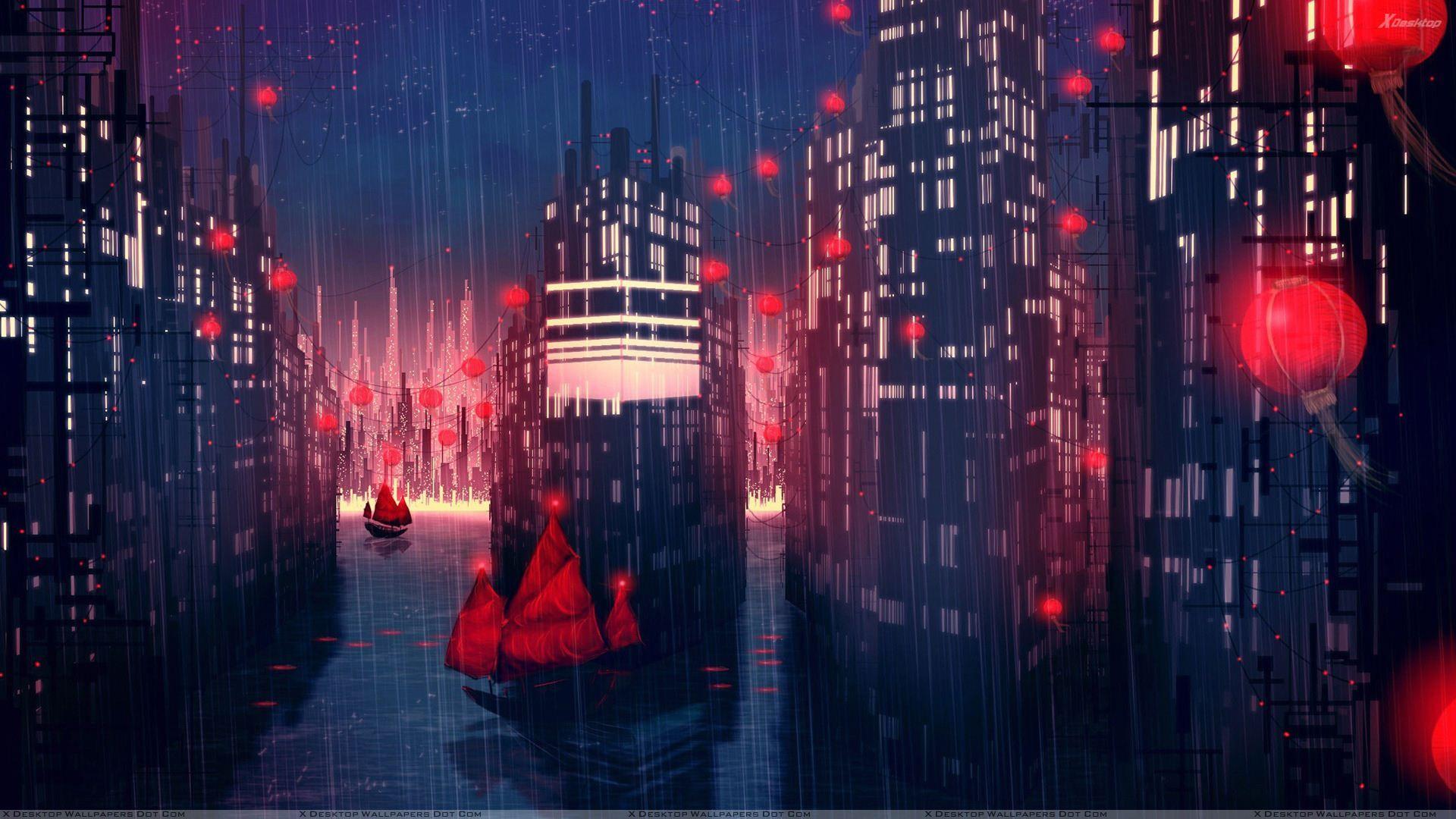 Rainy Red City Night Scene Jpg 1920 1080 Anime Scenery Wallpaper Anime Scenery Cityscape Wallpaper