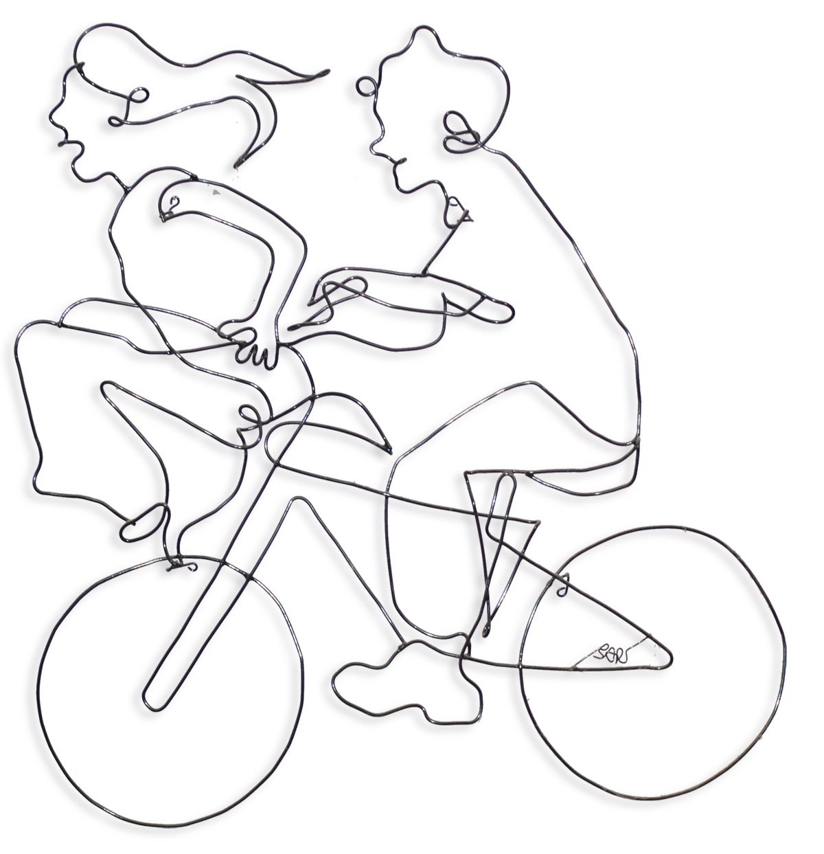 Wire Mural Of Two Kids On A Bike