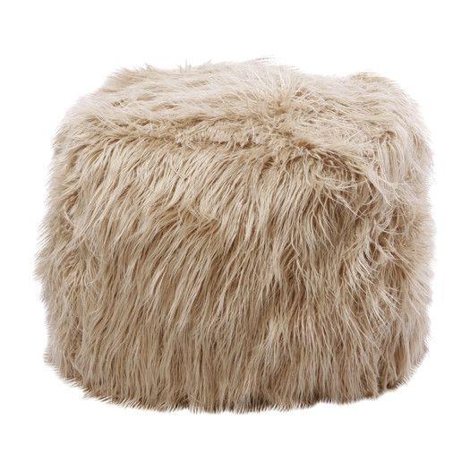 Best Home Fashion, Inc. Faux Mongolian Lamb Pouf Ottoman | AllModern