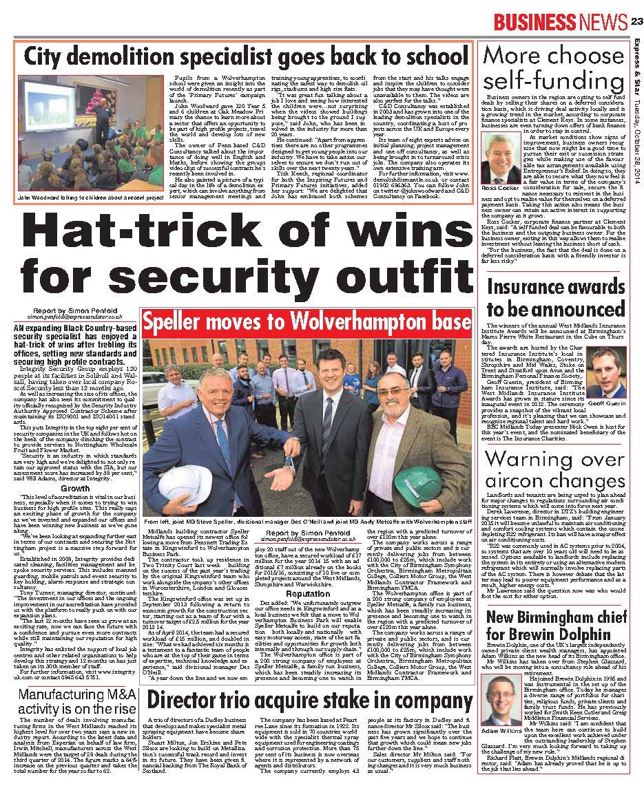 Integrity Security in the Express & Star. Going back to