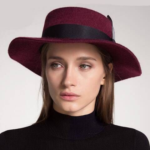 76210d03 Wine wide brim boater hat for women feather felt hats winter wear ...