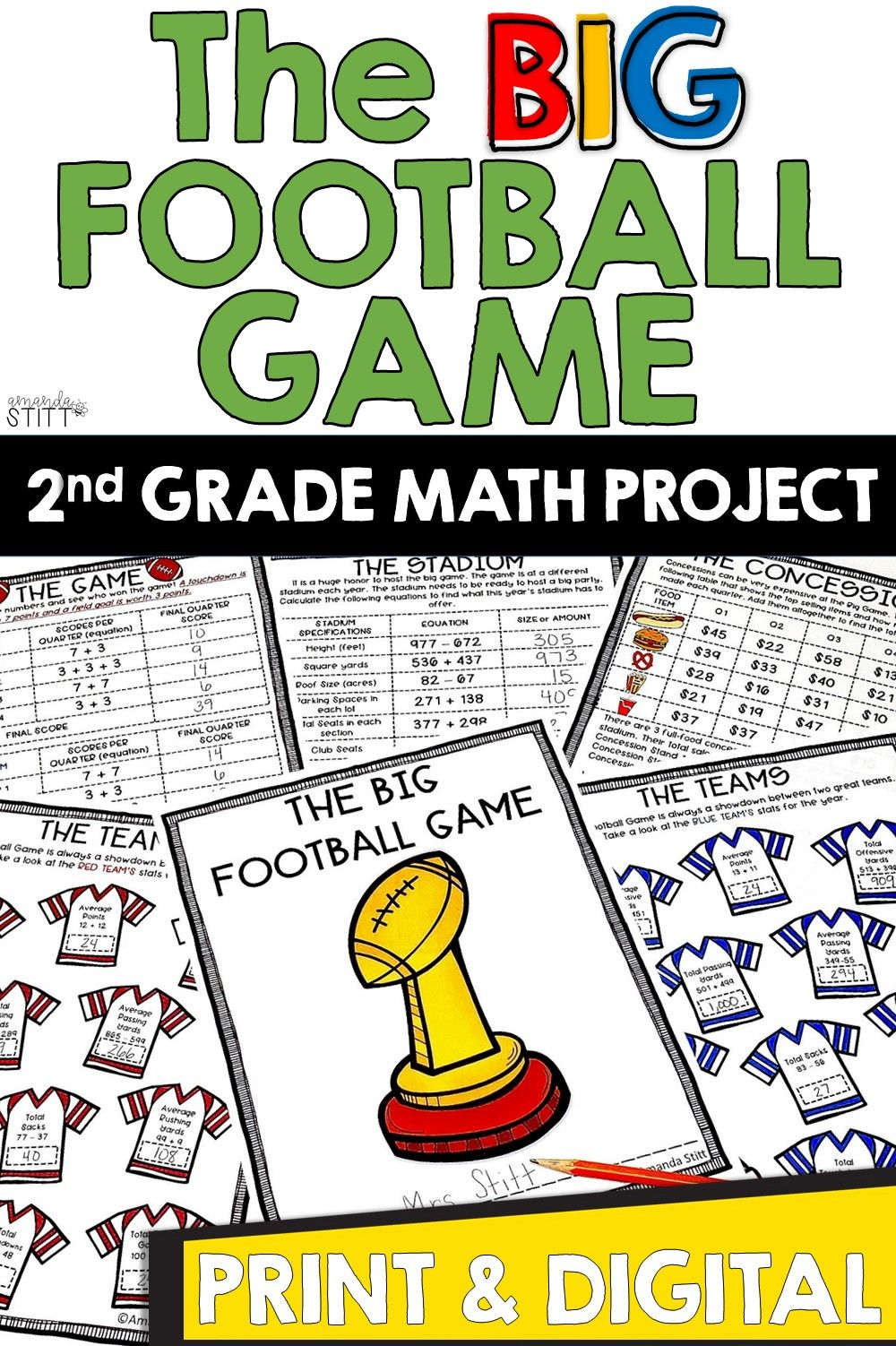 Big Football Game Addition And Subtraction Math Project For 2nd Graders In 2021 Football Math Activities Math Football Math Projects [ 1502 x 1000 Pixel ]