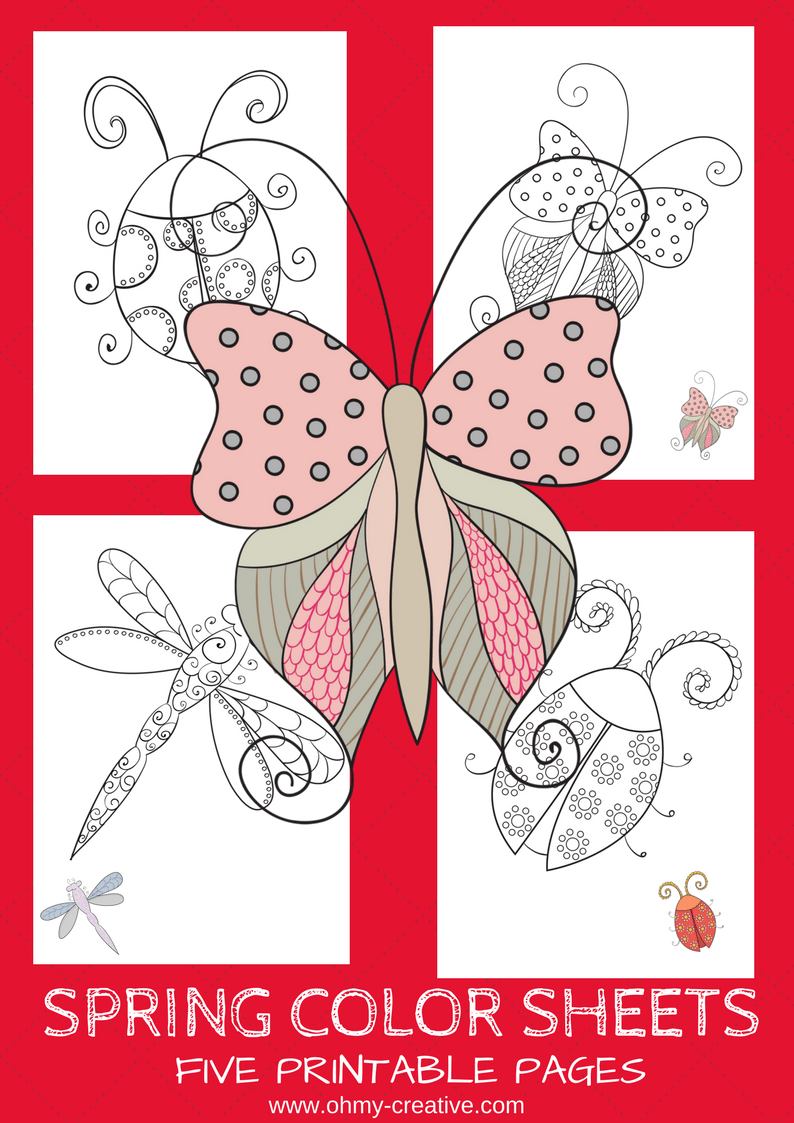 5 Free Printable Spring Coloring Pages | Free printables, Creative ...