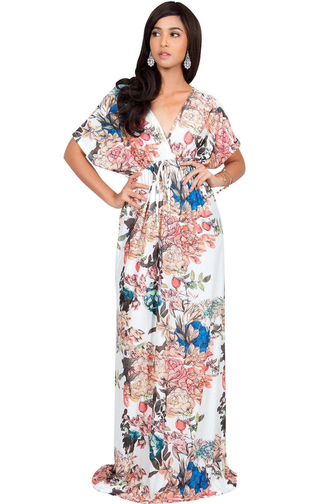 Ramona floral kimono sleeve formal summer long maxi dress