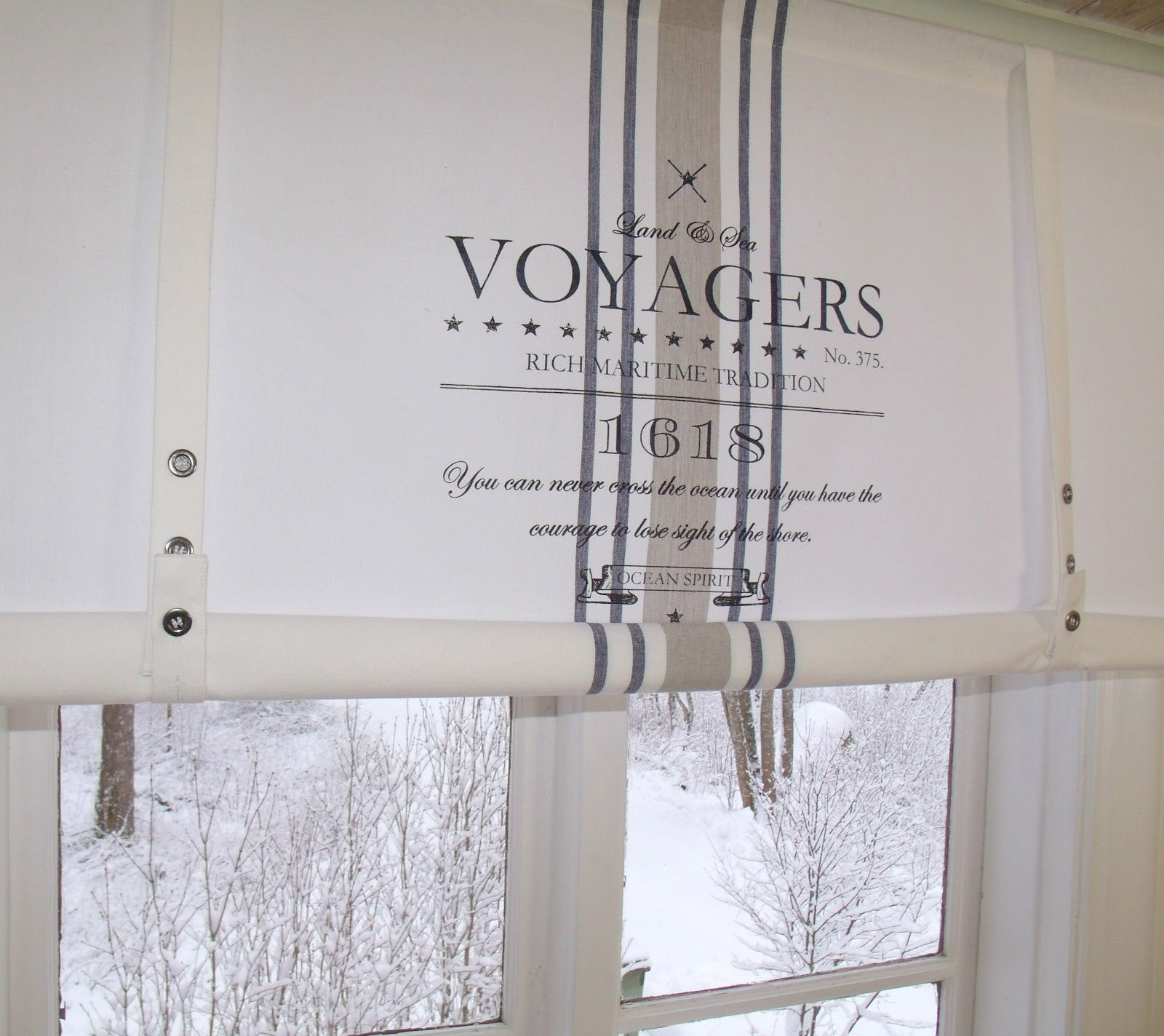 lillabelle ocean gardine raffrollo 120 x100 wei shabby vintage landhaus curtain ebay erste. Black Bedroom Furniture Sets. Home Design Ideas