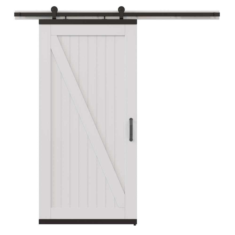 Jeld Wen 42 In X 80 In Designglide Rustic White Painted Wood Sliding Barn Door With Black Soft Close Hardware Kit Thdjw224700001 The Home Depot Wood Barn Door Rustic White Barn Door