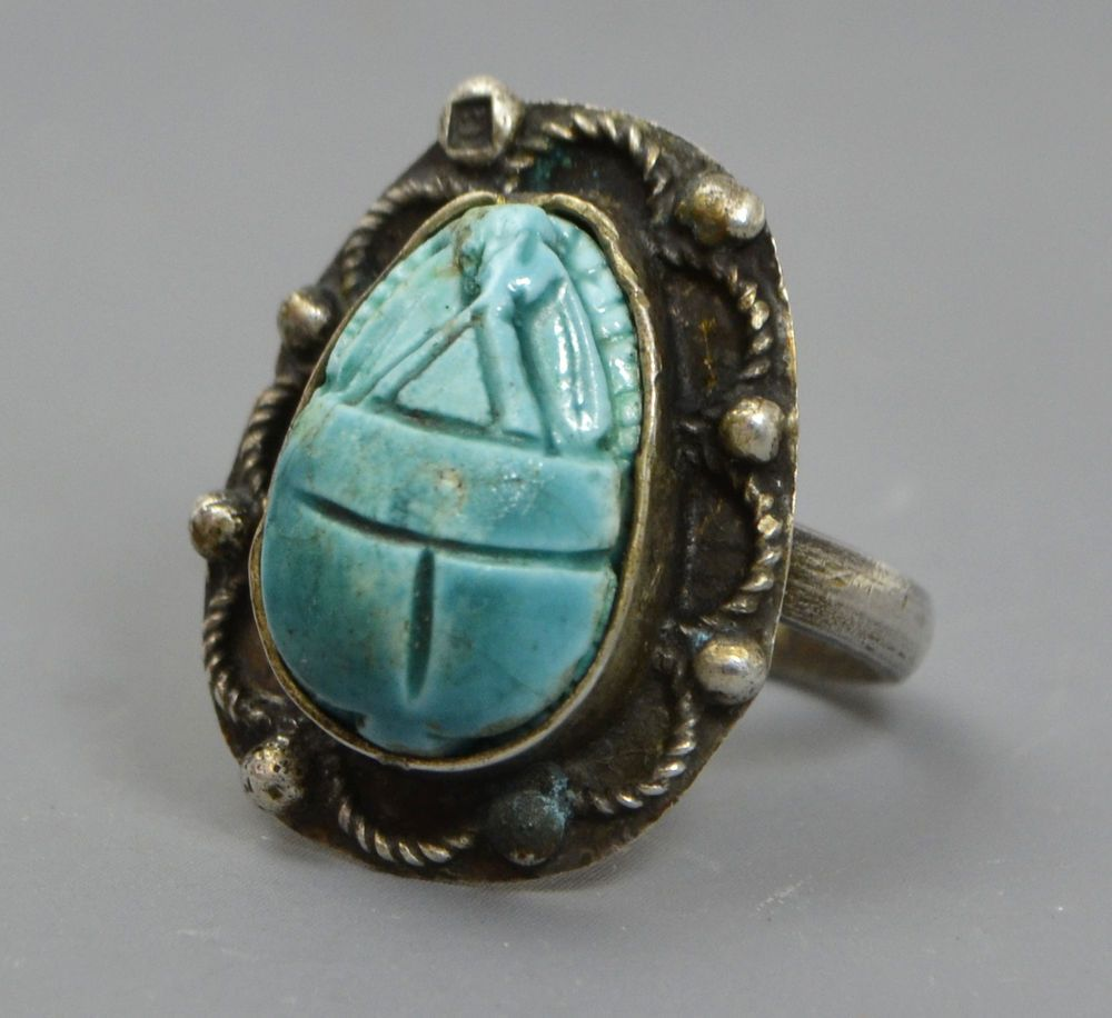 Vintage EGYPTIAN Solid 800 SILVER & Blue Faience SCARAB Statement RING - Sz K