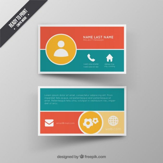 Colorful Business Card Free Vector