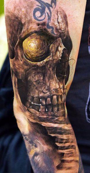 Tattoo Artist - Domantas Parvainis | www.worldtattoogallery.com/skull-tattoo