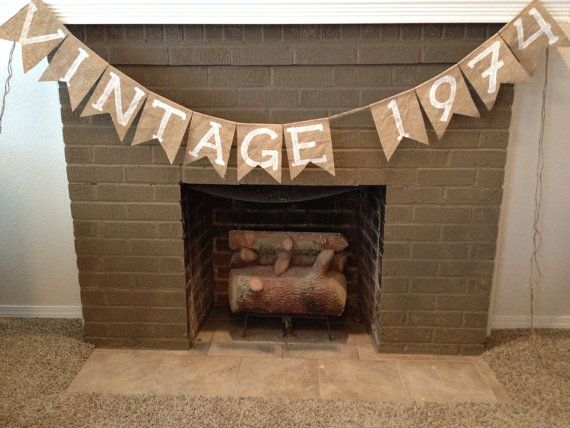 VINTAGE 1974 Burlap Banner ANY year Decoration by theGypsybird, $25.99