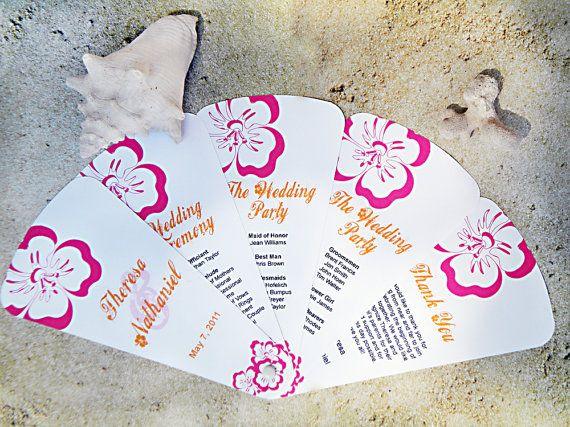 Tropical Floral Wedding Program Fans Tropical Floral Destination Wedding Beach Fan Programs Petal Fan Programs