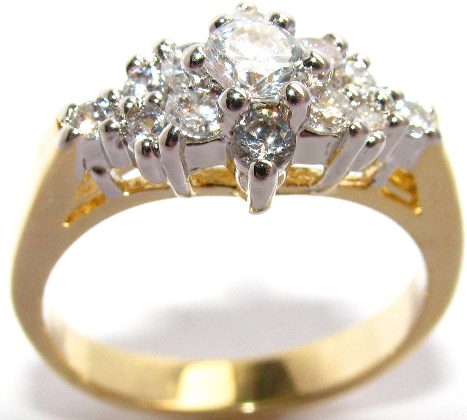 Ah! Jewellery Gorgeous And Glamorous! 0.40ct Two Tone Lab Created Diamonds Ring. 3.75mm Centre Stone. 3.5gr Total Weight. Fantastic Quality. PWoa3v