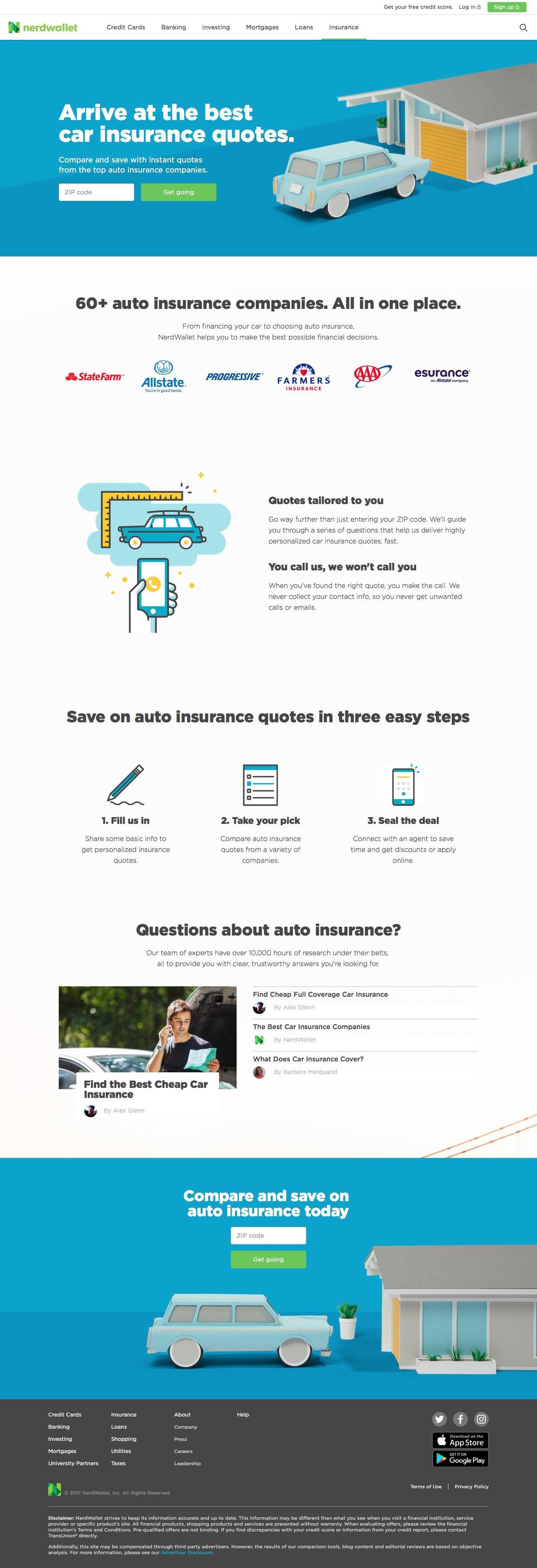 Nerdwallet com compare car insurance rates captured april 4 2017