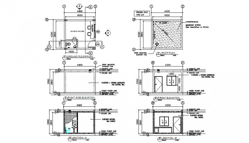 Guard House Plan Elevation And Section Detail Dwg File In 2021 Guard House House Plans Open House Plans