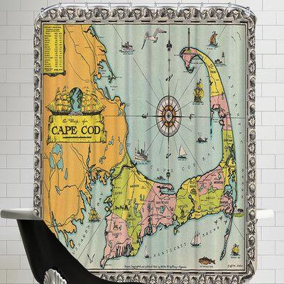 East Urban Home Walter M Gaffney Map Of Cape Cod Shower Curtain