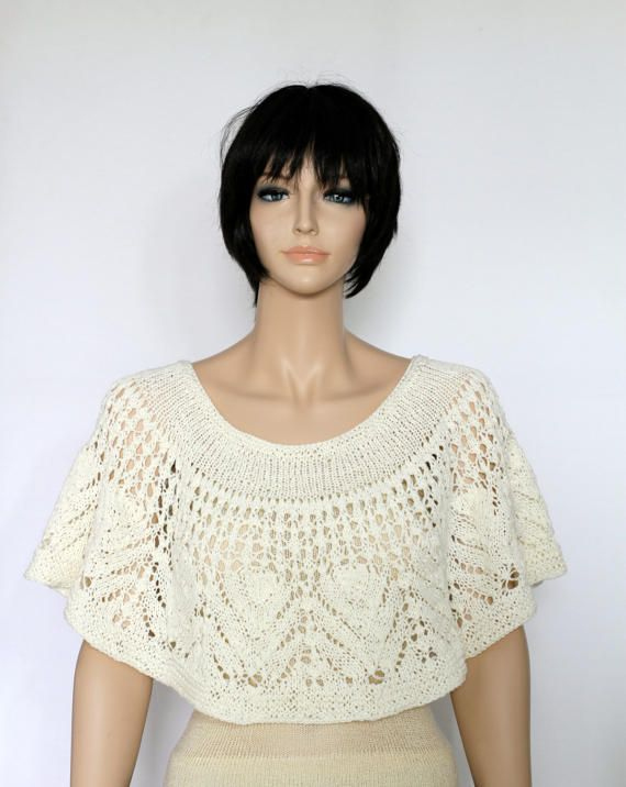 wedding shawl cape pattern Capelet Pattern Knit Wrap pattern Lacy ...