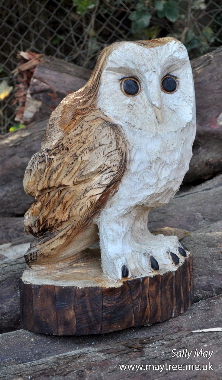 Barn owl chainsaw carving by sally may birds