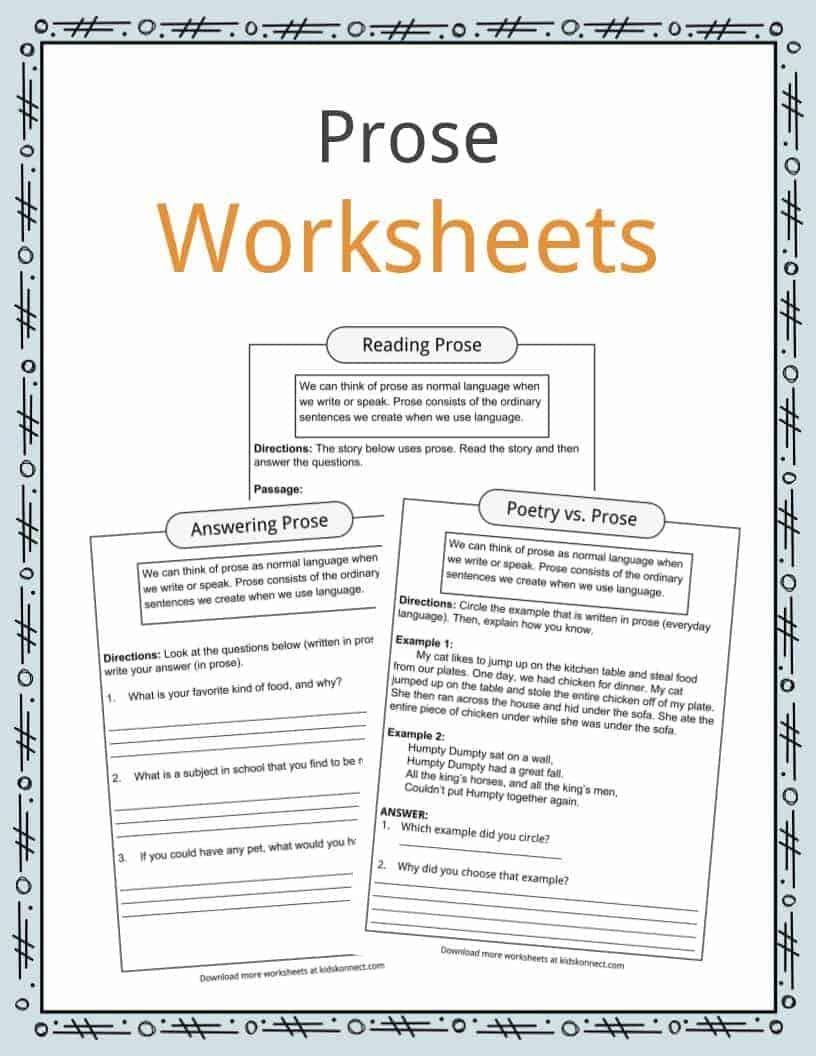 Prose Examples Worksheets Prose Poetry Worksheets Reading Comprehension Worksheets