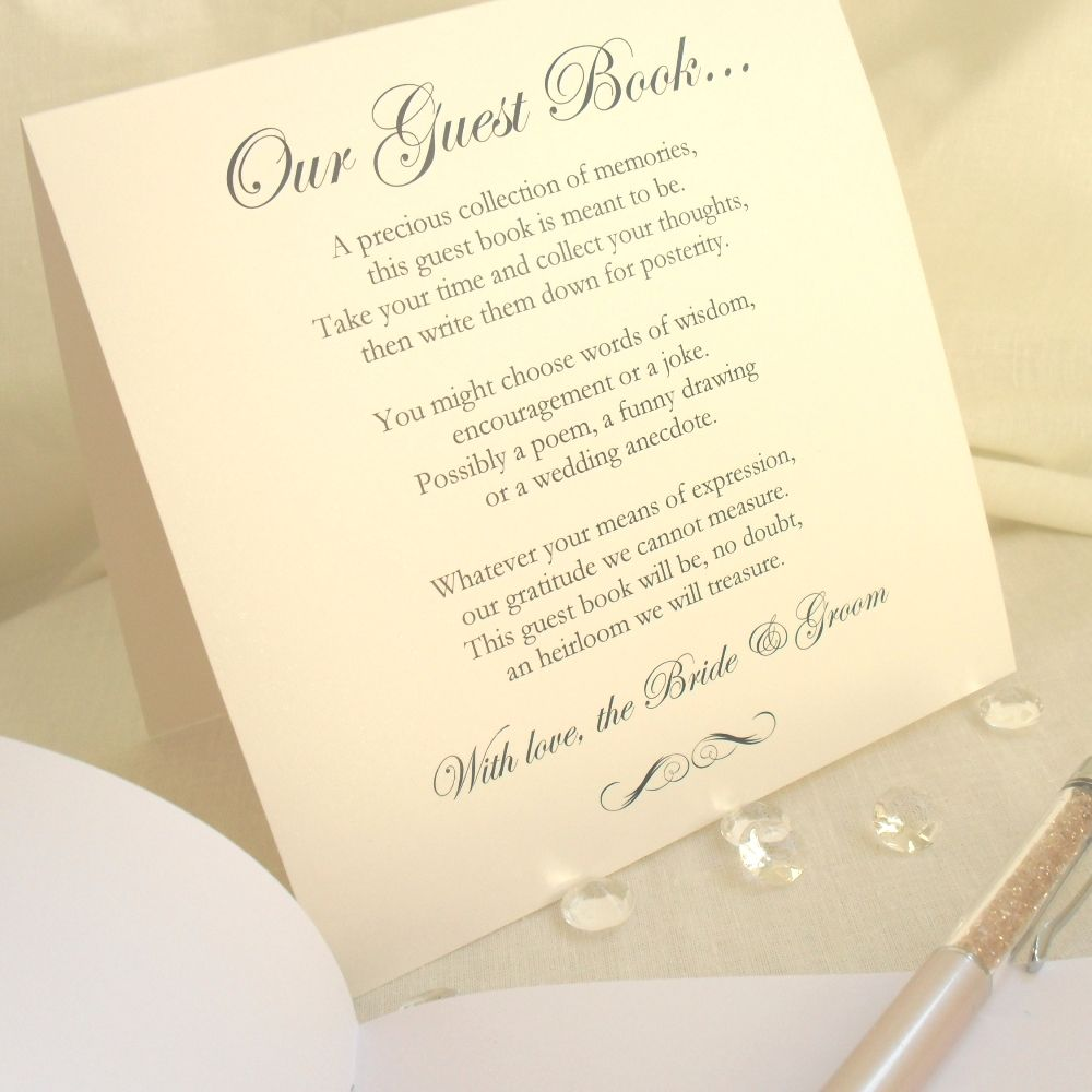 wedding guest book ideas for small weddings | Guest Book Poem Card ...