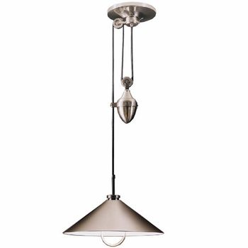 Pulley Pendant 2 For Kitchen Island Is Satin Nickel A Better Finish For The Kitchen Area Brighter Or Pulley Pendant Light Pulley Light Pendant Light