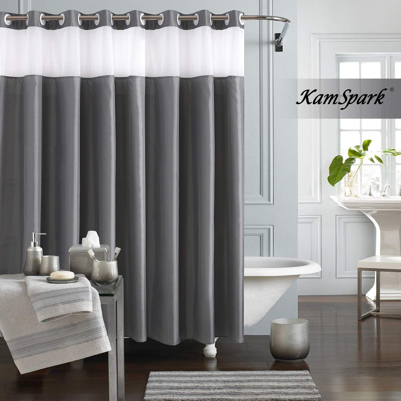 Kamspark Hookless Shower Curtain Grey Shower Curtains For