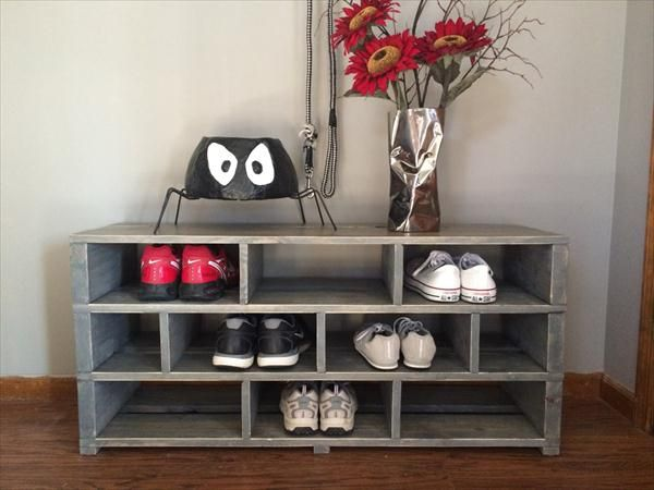Shoe Racks Made From Wood Pallets Handmade Pallet Grey Painted Shoes Rack Pallet Shoe Rack