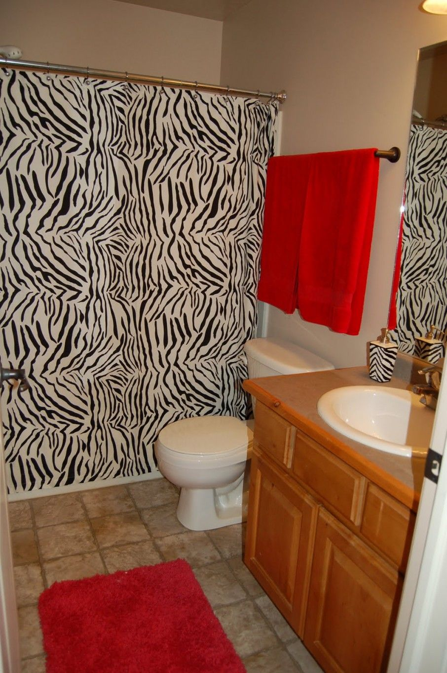 Chic Zebra Print Bathroom Ideas Unusual Red Details In The With White