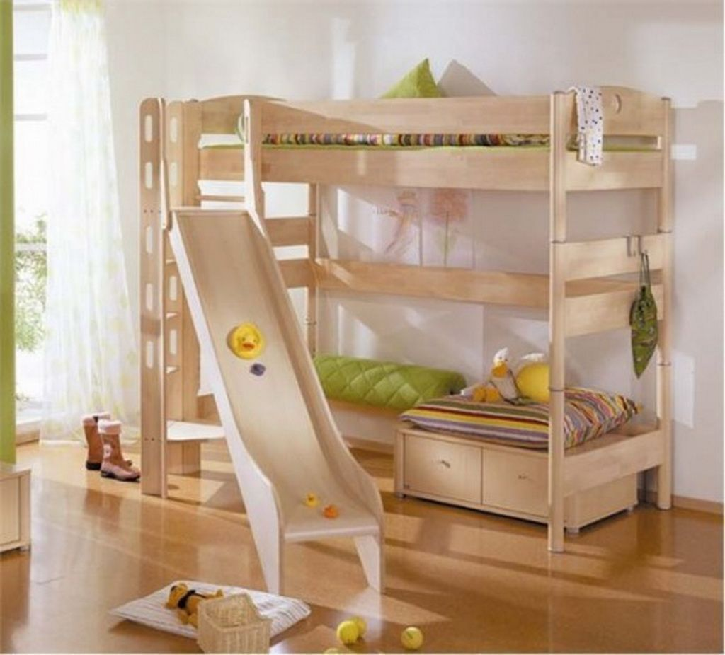 Girls loft bed with slide  Cool Kids Bunk Bed Ideas For Boys And Girls Room  Playful Cool Kids